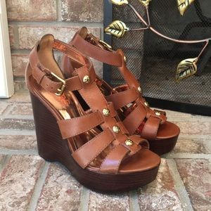 Micheal Kors Leather Wedge Sandals
